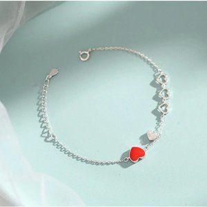 NEW 925 Sterling Silver Diamond Heart Bracelet